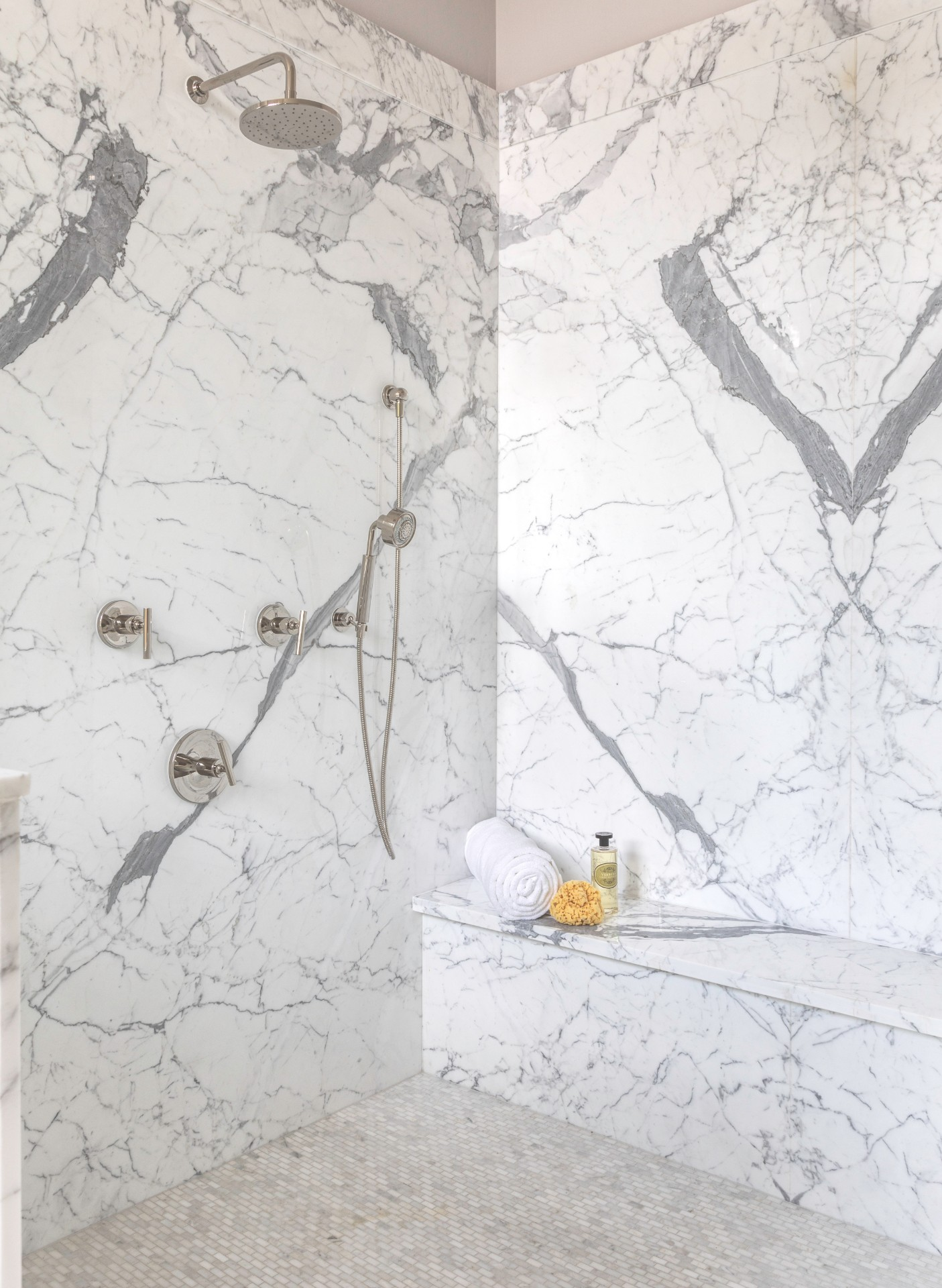 Marble in the master bathroom shower