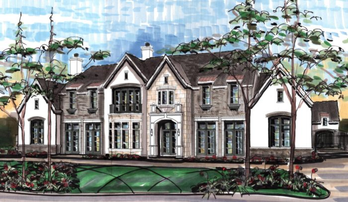 A 2D rendition of a custom home built by Frankel Building Group