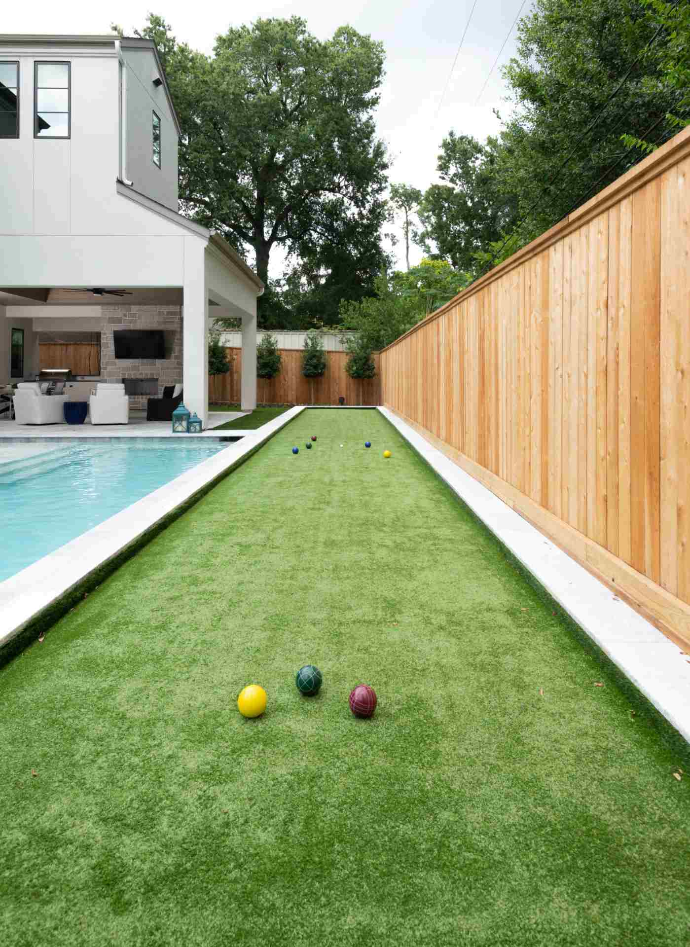 Bocce ball court designed and built by AVEA Pools