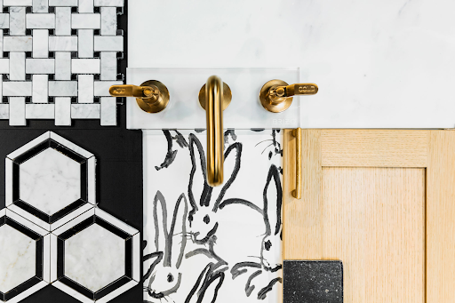 Various tiles and hardware for bathrooms